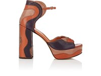 Derek Lam Women's Kimble Leather And Snakeskin Platform Sandals Brown Tan Dark Purple No Color