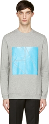 Richard Nicoll Heather Grey Blue Monogram Sweatshirt