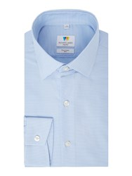 Richard James Men's Mayfair Horizontal Stripe Slim Fit Shirt Blue