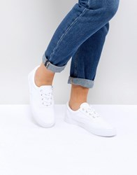 Asos Demby Lace Up Trainers White Patent