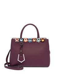 Fendi Small 2 Jours Flower Studded Leather Tote Wine White Ice