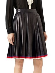 Gucci Pleated Leather Skirt Black