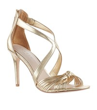 Sandro Metallic Twist Bow Sandals Yellow