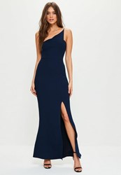 Missguided Navy Crepe One Shoulder Maxi Dress