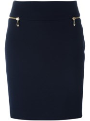 Versace Collection Zipped Pockets Pencil Skirt Blue