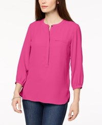 Jm Collection Pleated Back Blouse Created For Macy's Steel Rose