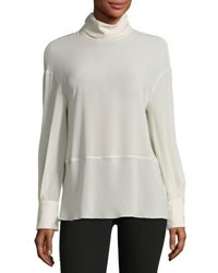 Brunello Cucinelli Turtleneck Georgette Silk Blend Top Cream