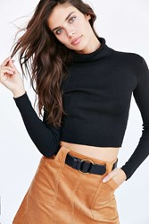 Lucca Couture Fitted Turtleneck Ski Sweater Black