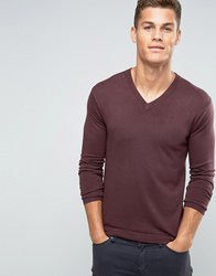 United Colors Of Benetton Viscose Mix V Neck Jumper Wine 1H8 Red