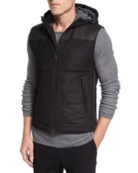 Vince Nubuck Leather Hooded Vest Black