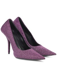 Balenciaga Square Knife Glitter Pumps Purple
