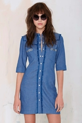 Nasty Gal American Retro Cassidy Chambray Dress