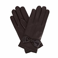Gizelle Renee Penelope Black Leather Gloves With Black Cashmere