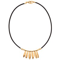 Gerard Yosca Loves Me On Leather Necklace Gold