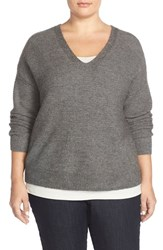 Plus Size Women's Eileen Fisher Wool Blend Knit V Neck Top Ash