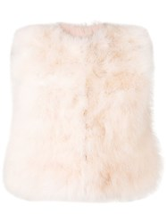 Red Valentino Cropped Feather Vest Pink