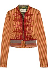 Etro Appliqued Striped Silk Jacket Mustard
