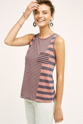 Anthropologie Mixed Stripe Tank Light Red