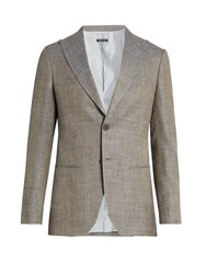Giorgio Armani Peak Lapel Wool Linen And Silk Blend Blazer Grey