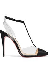 Christian Louboutin Nosy Strass 100 Crystal Embellished Satin And Pvc Pumps Black