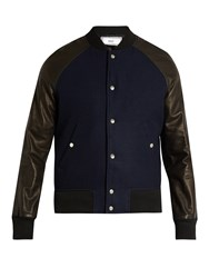 Ami Alexandre Mattiussi Leather Sleeved Bomber Jacket Black Multi