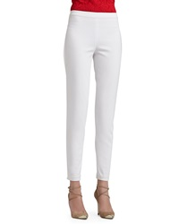 St. John Collection Soft Stretch Denim Leggings With Elastic Waistband And Back Leg Seam Detail