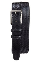 Torino Belts Men's Big And Tall Geometric Calfskin Belt Black