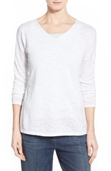 Women's Eileen Fisher Organic Linen And Cotton V Neck Sweater White
