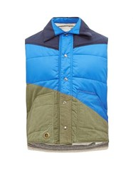 Greg Lauren Panelled Quilted Shell Gilet Blue Multi