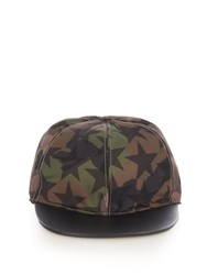 Valentino Star And Camouflage Print Cap Green Multi