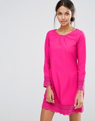 Yumi Uttam Boutique Long Sleeve Shift Dress With Crochet Detail Fuchsia Pink