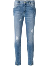Htc Hollywood Trading Company Distressed Skinny Jeans Cotton Spandex Elastane Blue