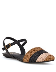 Elliott Lucca Bailey Woven Leather Flats Black Tan