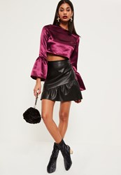 Missguided Purple Flared Sleeve Satin Crop Top