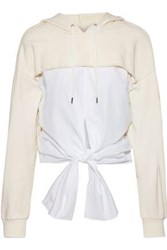 3.1 Phillip Lim Woman Tie Front Cotton Poplin And French Terry Hooded Sweatshirt Ivory
