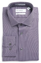 Calibrate Men's Big And Tall Trim Fit Non Iron Houndstooth Stretch Dress Shirt Purple Petunia