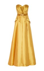 Alexis Mabille Strapless Belted Gown Yellow