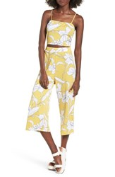 Mimi Chica Floral Print Crop Top Yellow Floral