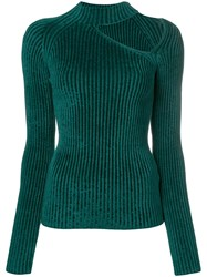 Mrz One Shoulder Knitted Sweater Green