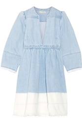 Ulla Johnson Alina Ombre Denim Mini Dress Light Denim