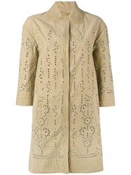 Ermanno Scervino Broderie Anglaise Coat Nude Neutrals