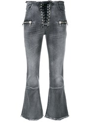 Unravel Project Lace Up Front Cropped Jeans Grey