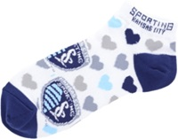 For Bare Feet Women's Sporting Kansas City Heart Logo Repeat Socks White