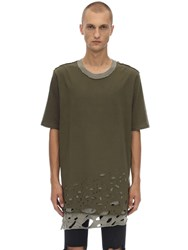 Faith Connexion Distressed Cotton Jersey T Shirt Khaki