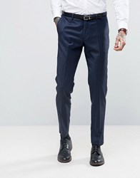 Heart And Dagger Skinny Tuxedo Check Suit Trouser Navy