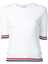 Thom Browne Striped Detail T Shirt Women Cotton 44 White