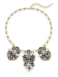 Saks Fifth Avenue Jewel Drop Cluster Collar Necklace Anthracite Gold