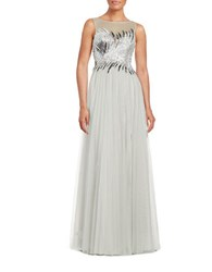 Basix Ii Sequined Illusion Gown Black Silver