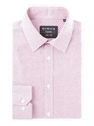 Howick Men's Tailored Ridge Geo Print Slim Fit Shirt Pink