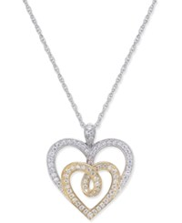 Macy's Diamond Two Tone Heart Pendant Necklace 1 3 Ct. T.W. In 14K Gold And White Gold